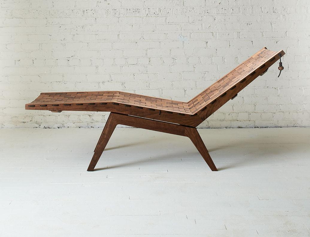 Walnut deck chair