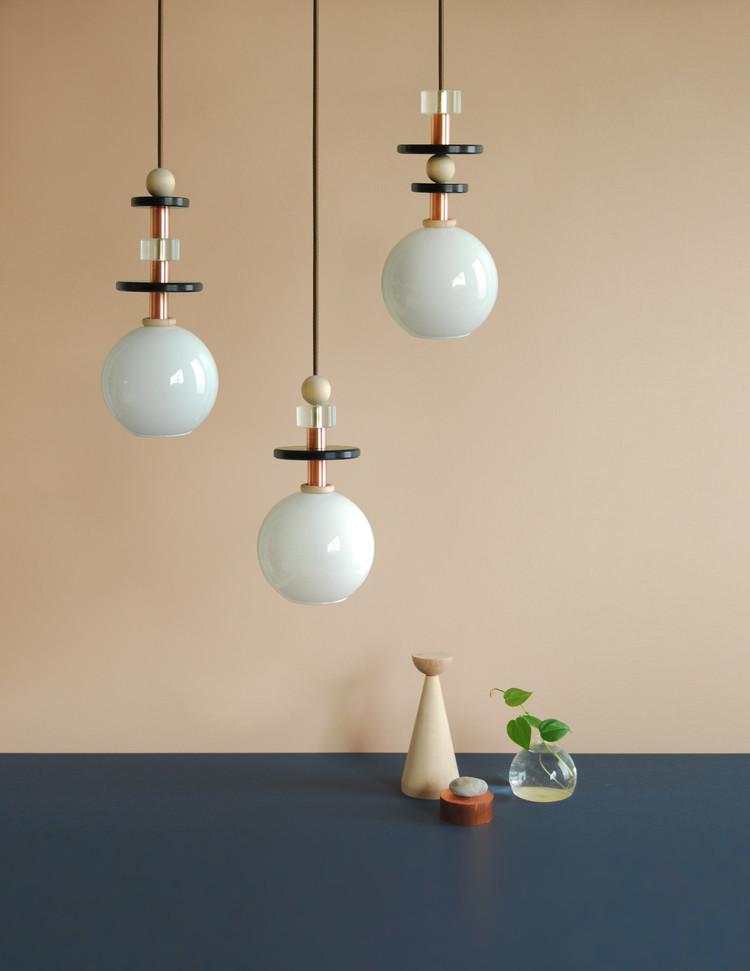 Marble copper acrylic pendant lamp