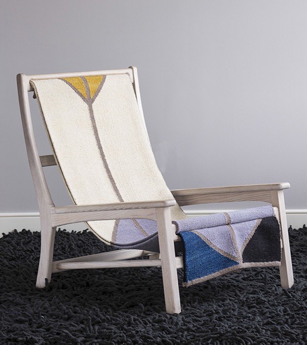 color blocked woven sling chair