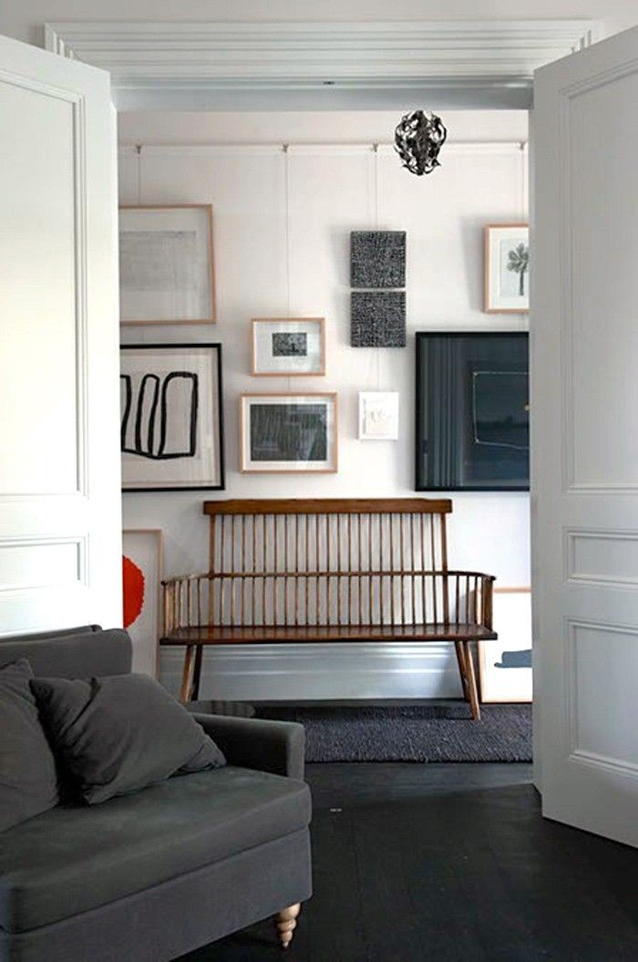 Picture rail gallery wall hallway design