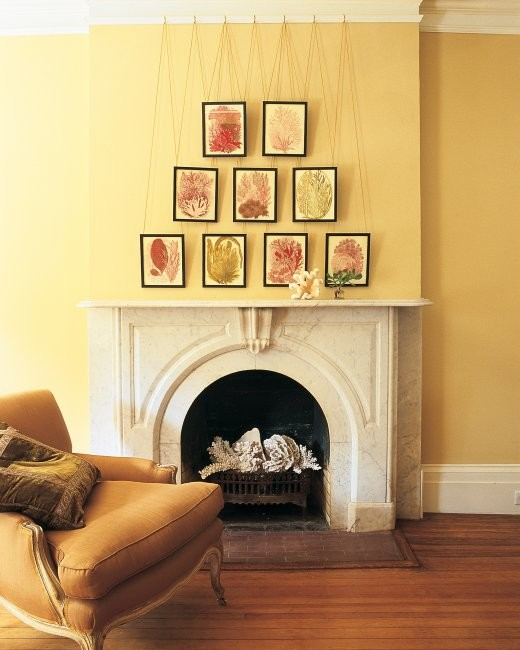 Picture rail art wall yellow lacquer color