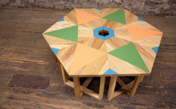 Hex wood table colorful inlay