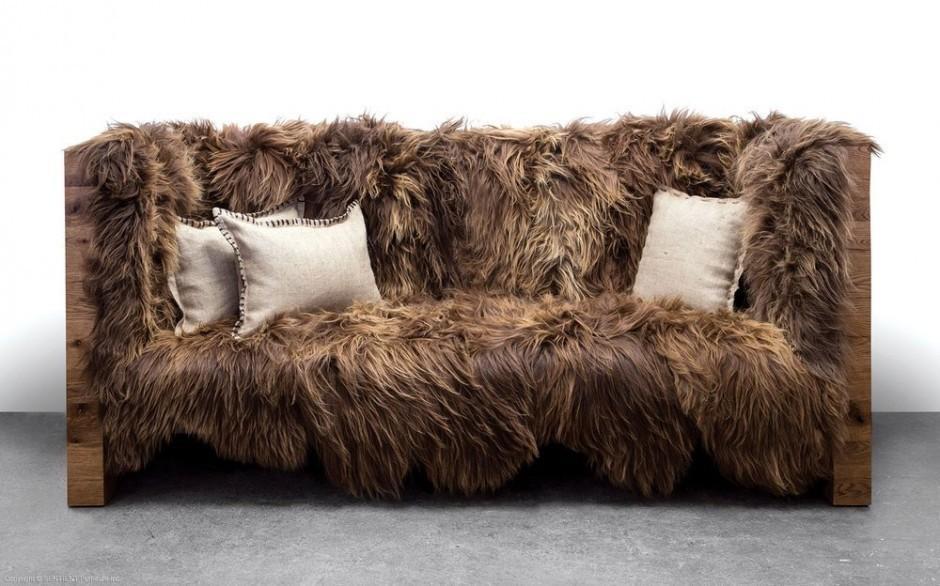 brown fur sofa