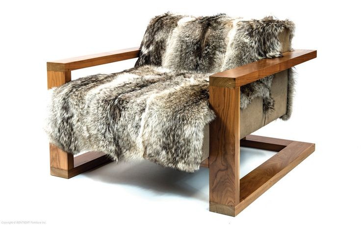 Wooden and fur armchairs