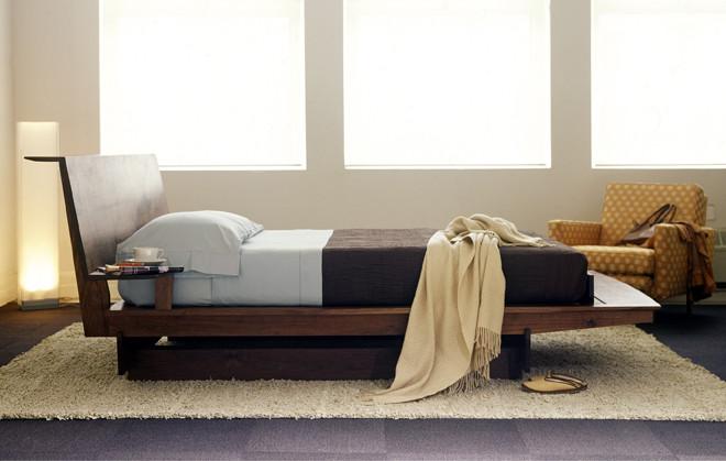 flat wooden platform bed