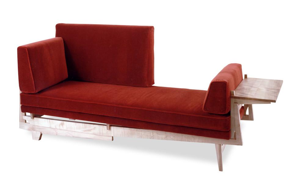 Red velvet day bed
