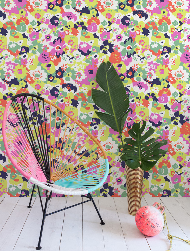colorful wildflower wallpaper acapulco chair