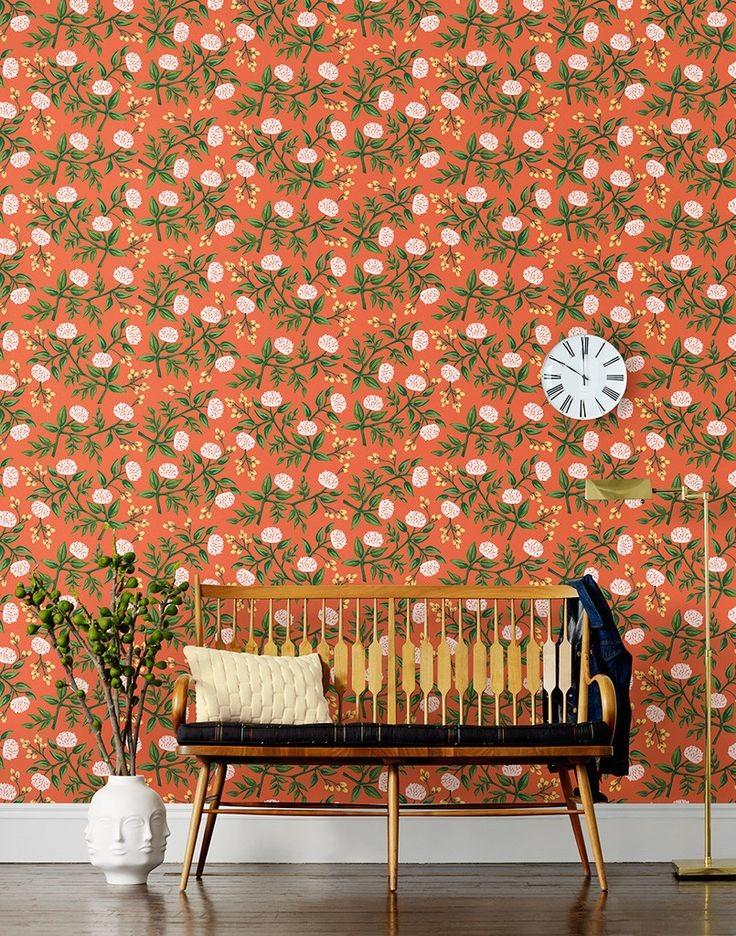 Orange retro peony floral wallpaper