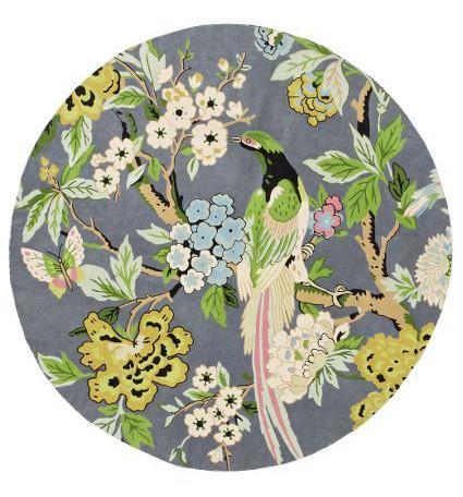 Flowers and bird round carpet