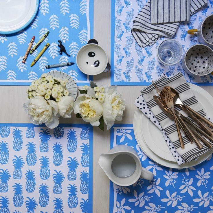 Blue floral paper placemat