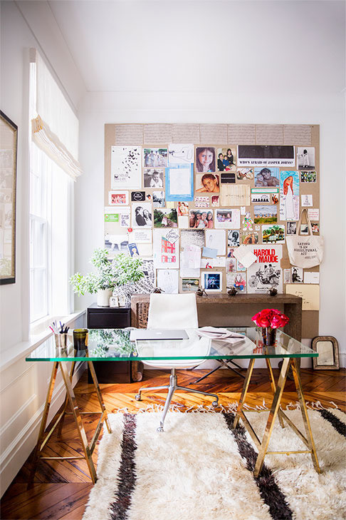 Contemporary home office with inspiration board