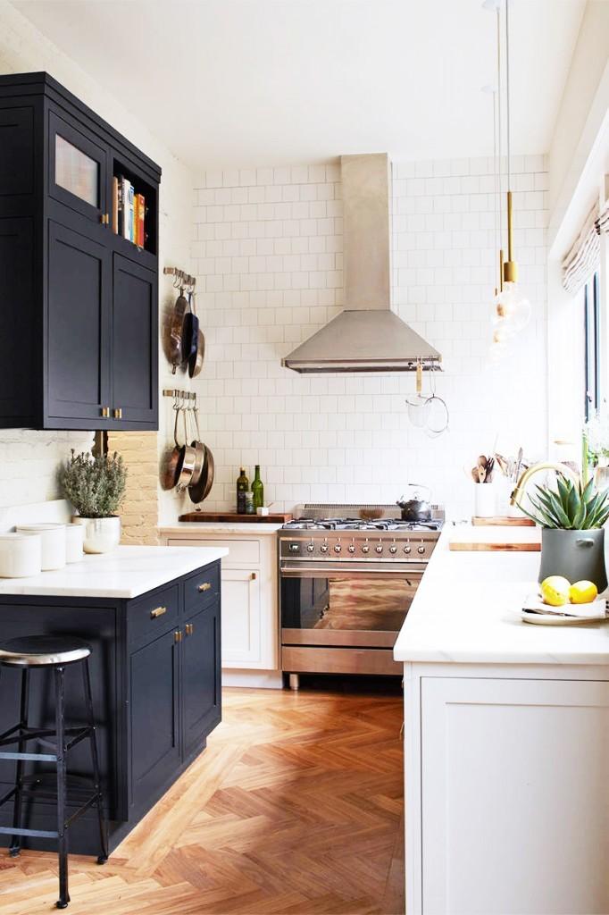 Small white and black kitchen
