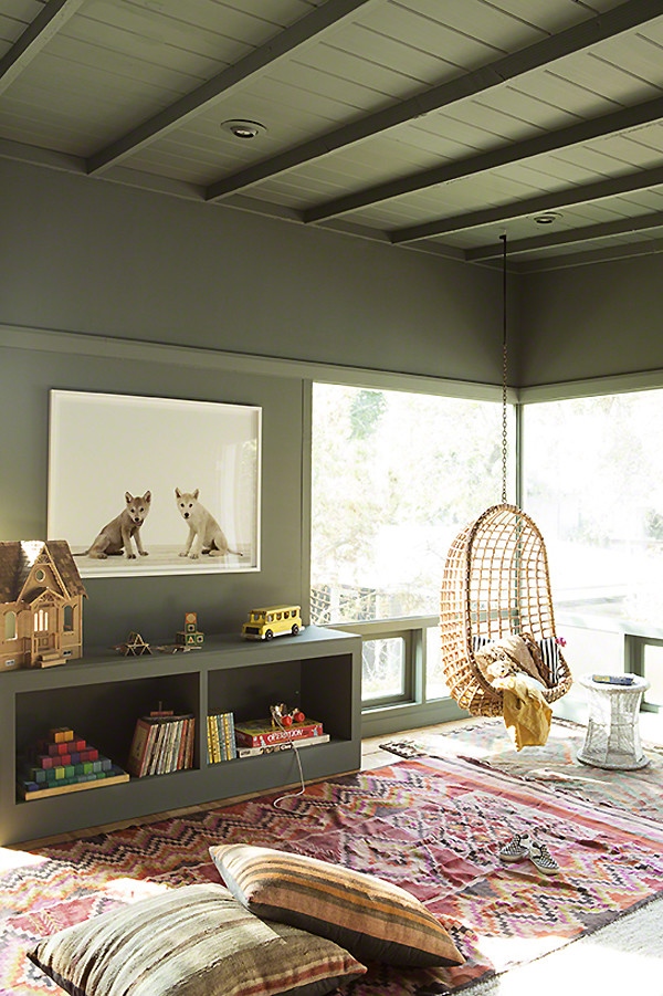 bohemian children's room with green walls