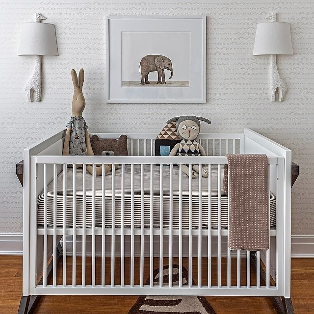 modern white crib animal print