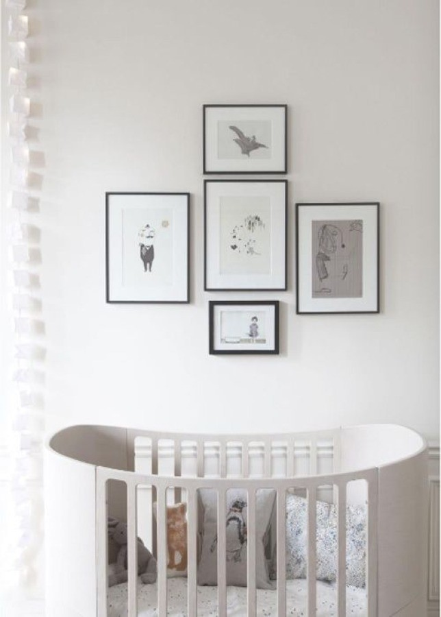 all white nursery crib