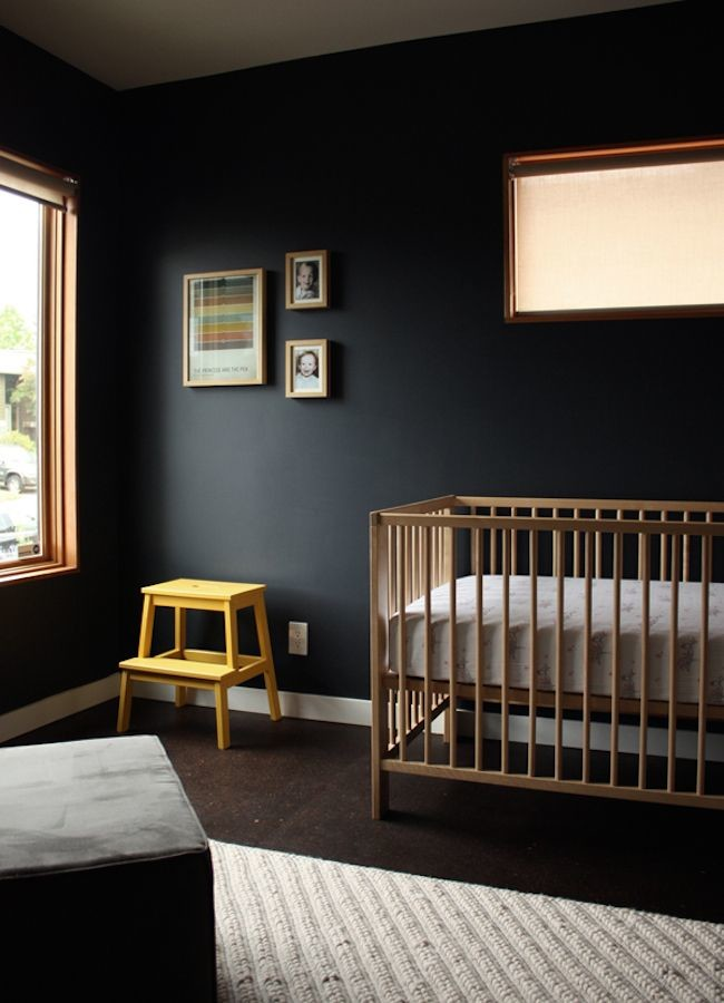 black wall wood crib nursery