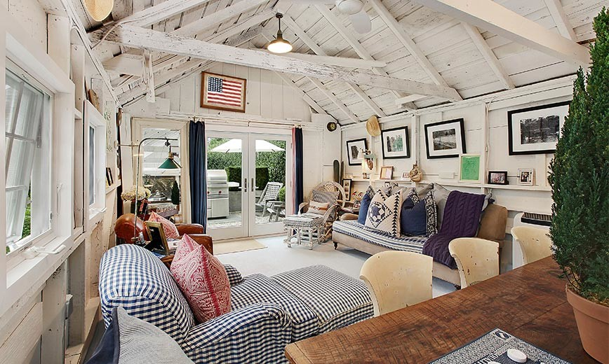 Gingham armchair Americana country living room