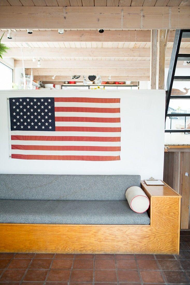 american flag house boat decor