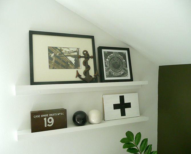 Vintage Americana objects on the shelf