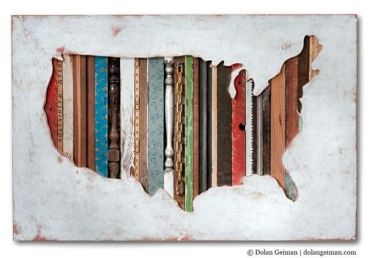 USA shaped wall art