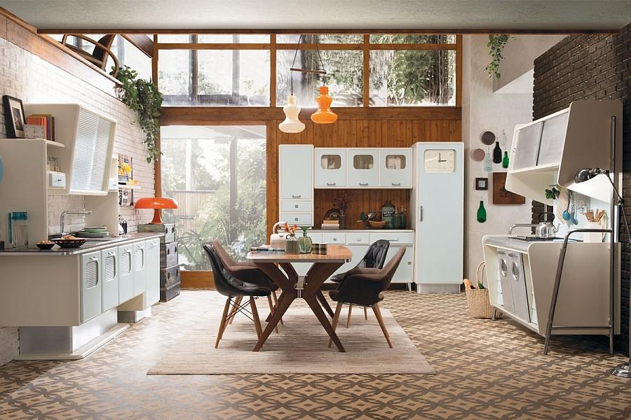 Wood paneling retro kitchen design