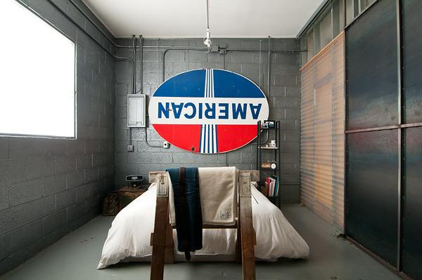 Retro America Sign Industrial Bedroom Design