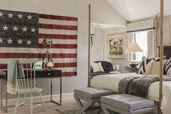 oversized american flag decor bedroom design