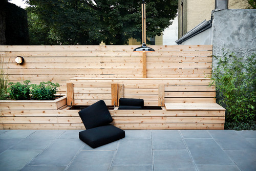 Outdoor seating made of raw wood