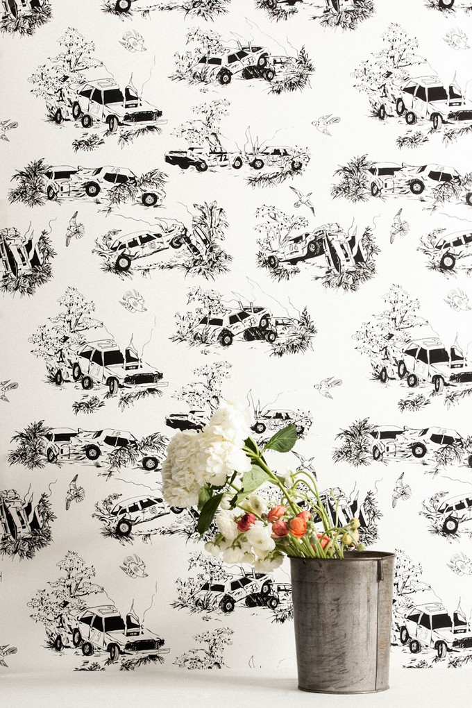 Black and white toile car wallpaper