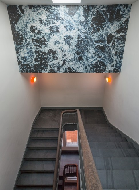 Splash water wallpaper stairwell design