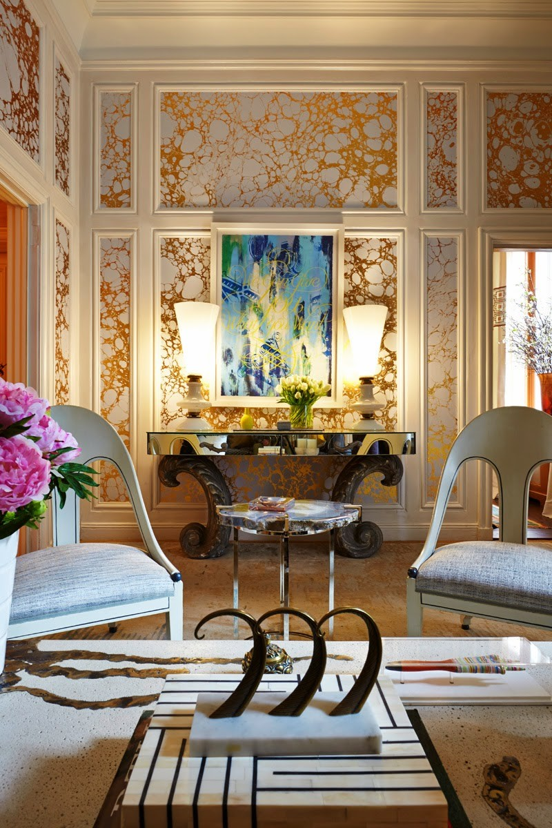 Living room made of gold and white marbled wallpaper