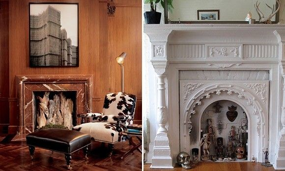 ornate carved white fireplace