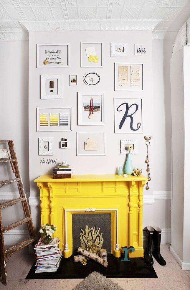 bright yellow mantelpiece
