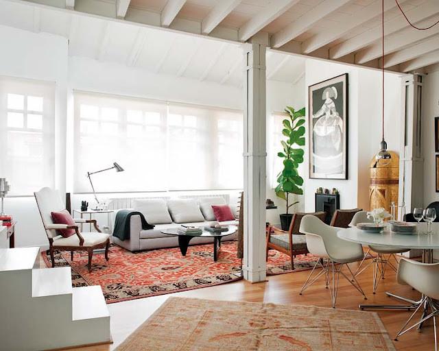 bright loft living room design