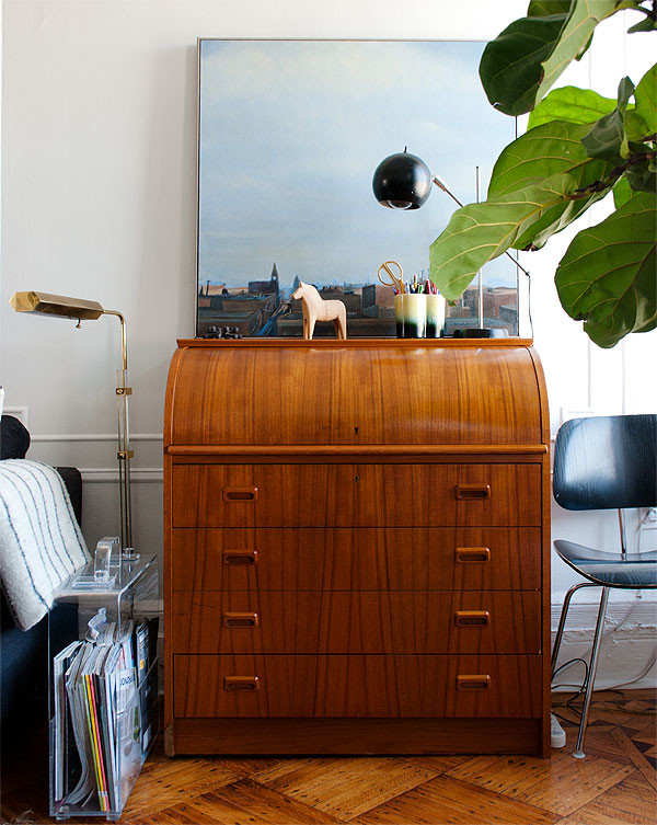 Retro wood roll top desk