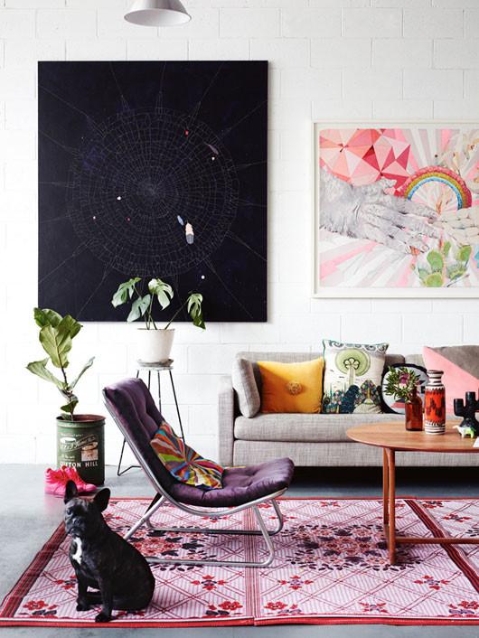 large black canvas living room design