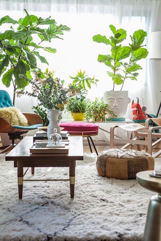 Moroccan stool boho living room