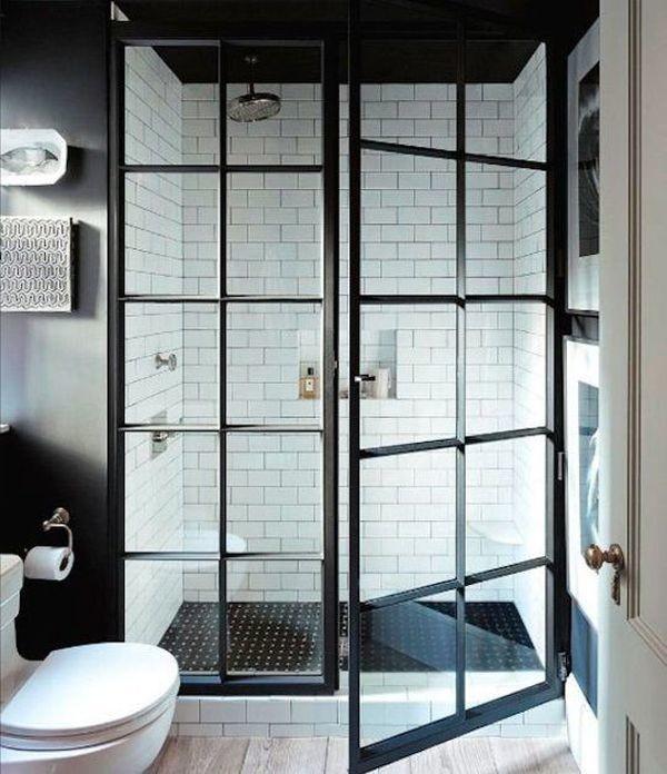 black trimmed shower doors subway tile