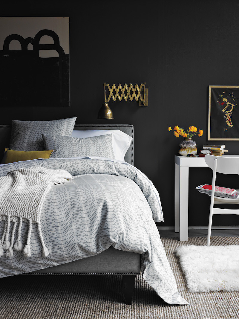 black walls black and white linen