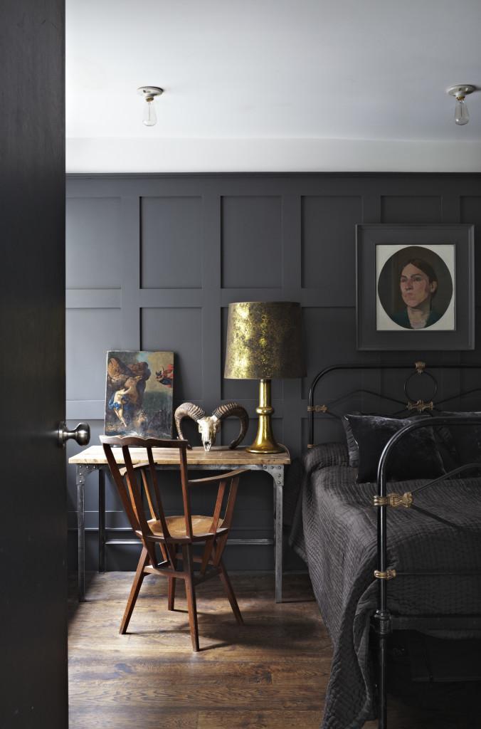 black wall shape masculine bedroom design
