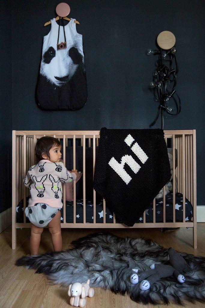 black walls modern wooden crib
