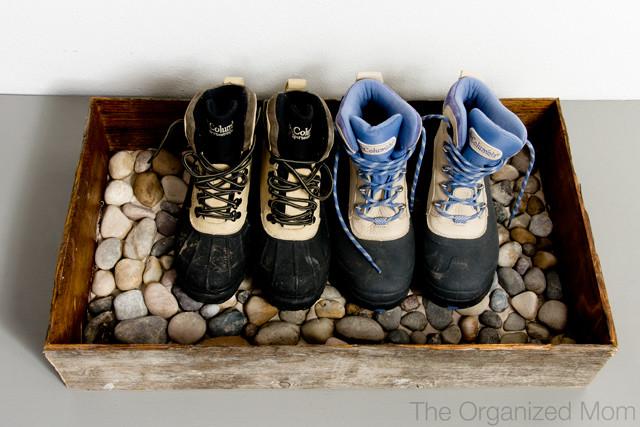 Hiking shoes stone bowl storage idea