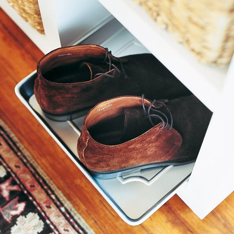 Baking tray shoe rack storage idea