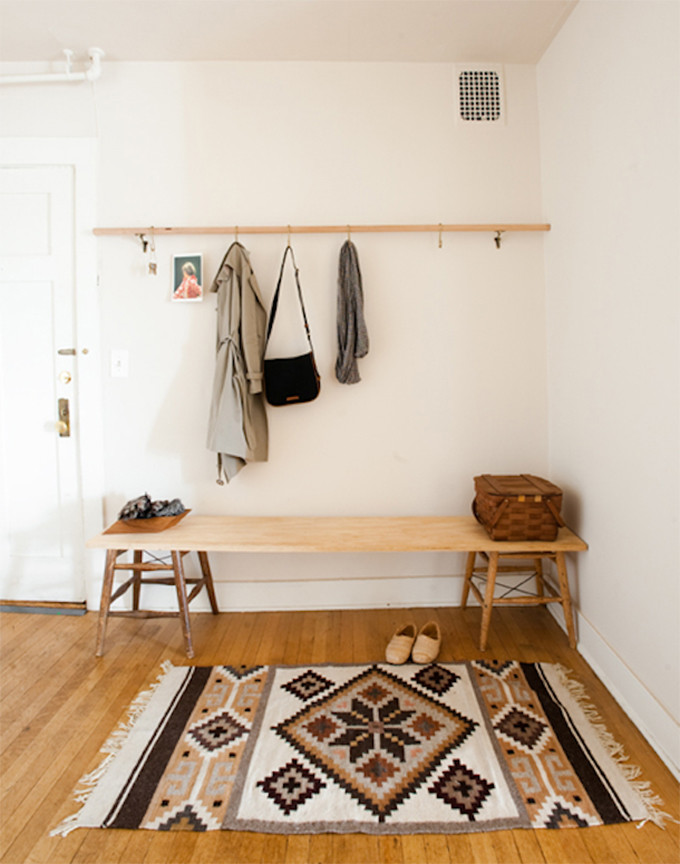 Wood curtain rod mudroom decor