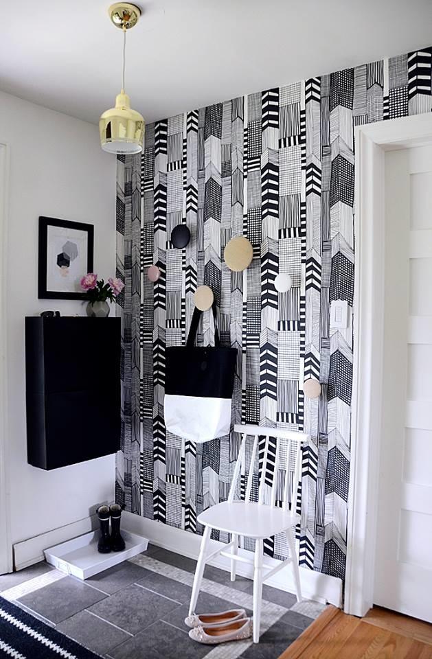 hanging closet pattern wallpaper hallway design