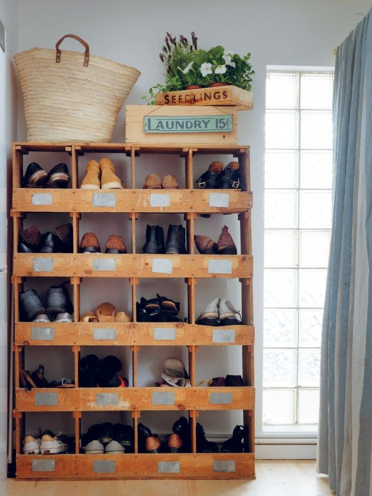 Vintage bin shoe storage idea
