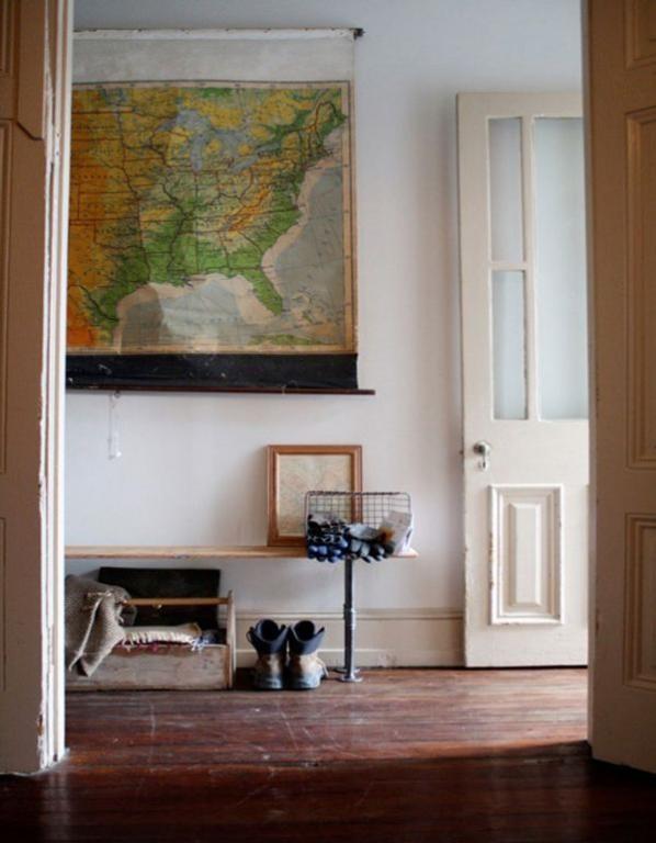 Vintage map art hallway design