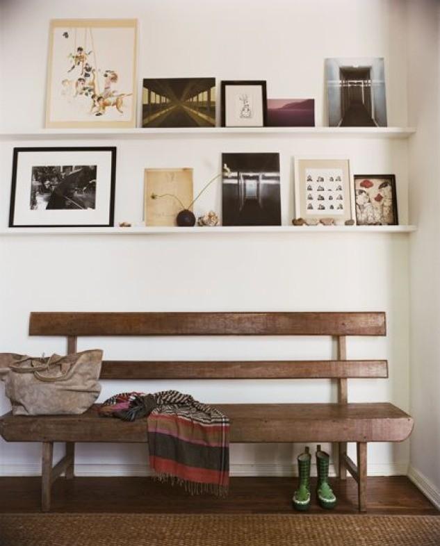 Wooden bench art exhibition on shelves