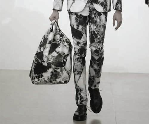 black and white marble trousers and bag