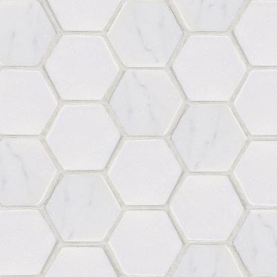 Hex marble mosaic tile
